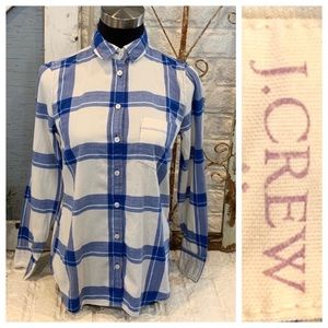 "J Crew plaid shirt ""boy cut"" size XS"